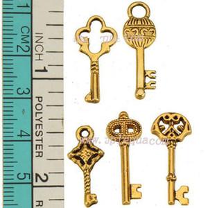 Diy anti oro encantos joyas hallazgos pulseras para mujer hombre collares colgantes llaves mixtas pequeño corazón amor envío gratis metal moda 250 unids