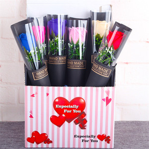 عيد الحب وردة زهرة الاصطناعي الزهور باقة هدايا روز فرع واحدة أكياس الورق هدية التغليف البلاستيكية