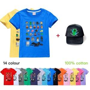 Minecraft Kinder-Sommer-Paket Kinderbekleidung tops + Hüte Jungen und Mädchen Kurzarm-T-Shirts + hats Babykinder Kleidung