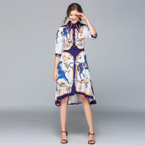 Modedesigner Runway-Kleid-Sommer-Frauen-Kleid weibliche Revers-Kragen Halbarm Shift-Unregelmäßige Midi-Hemd