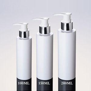 3 ps lot kosmetische Verpackung Flaschen 100ml 150ml 200ml weißen Kunststoff-Silber-Lotion-Pumpen-Flaschen-PET-Flasche für Shampoo mit Dispenser