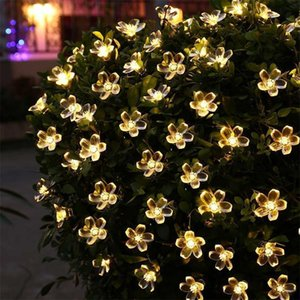 New Solar String Lights 50 LED Flower Waterproof String Fairy Christmas Tree Light Party Wedding New Year Decoration Garland Y200603