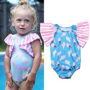 Emmababy Hot Cute Новорожденные дети ребёнки Ice Cream Printed Ромпер Цельный Пуловер комбинезон Нижнее Одежда