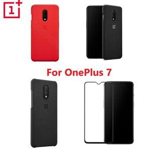 Offizielle OnePlus 7 Fall Bespoke Silikon-Sandstein-Nylon Auto Flip-Abdeckung Ausgeglichenes Glas für ursprüngliche OnePlus 7