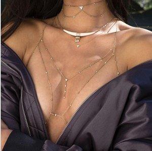 collo fascio sexy rame perle di lusso collana gioielli con diamanti maglia del corpo di modo catena pendente con i vestiti shippin