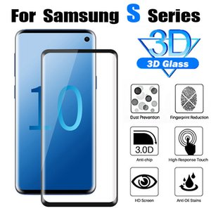 For Samsung Galaxy S10+ S10e Note9 S9+ Tempered Glass 3D 9H Full Screen Cover Explosion-proof Screen Protector Film for S8+ S7 S6 Tempere