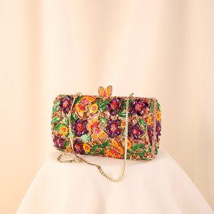 Women Lady Evening Handbag Multicolor Metal Rhinestone Crystal Studded Fashion Butterfly Clutch Bag Diamond Purse Party Luxury Bfgpc