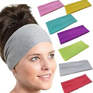 Yoga-Sport-Damen der reinen Farbe Schweißband Gym Stretch Stirnband Trendy Multicolor elastisches Haar-Band 2019