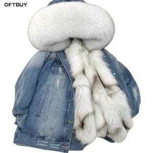 OFTBUY 2019 Jacket Denim Parka Casaco de Inverno das mulheres reais Fur Natural Raccoon Fur Collar real Grosso Quente Liner Casacos Nova