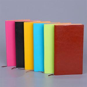 A5 PU couro colorido escrita notebook diário notepad jornal de viagem escritório estudantes estudantes papelaria vintage notebook 100 folhas 200 páginas