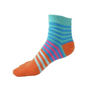 2018 Nova Primavera-Verão Moda Mulheres Homens Cotton Toe meias listradas cores estilo britânico de negócios Casual Meias Cor usar roupas