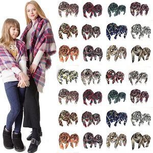 Xadrez quadrado cachecol meninas xale 100 cm 140 cm grade envoltórios treliça lenços de pescoço pashmina inverno quente mãe mãe crianças lenço família ljja3019