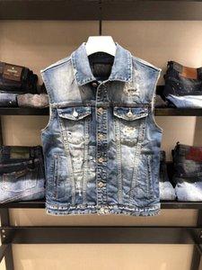 20ss Wholesale New Fashion Mens Denim Vest Vintage Sleeveless washed jeans waistcoat Man Cowboy ripped Jacket Size M-3XL Asian