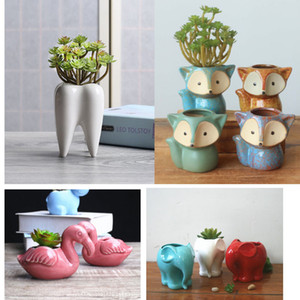 Ceramic Planter Plant Pot For Home And Office Desktop Windows Decoration Gift For Wedding Birthday Christmas 16 Styles Animal HH9-2277