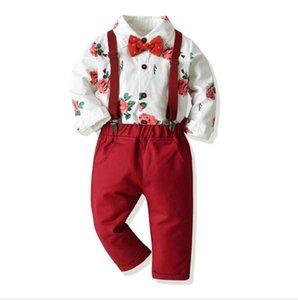 Les nouvelles les plus vendus des vêtements de Noël pour enfants rose point de vague chemise pantalon BOW CEINTURE conviennent la taille du lot chaud 70-130cm
