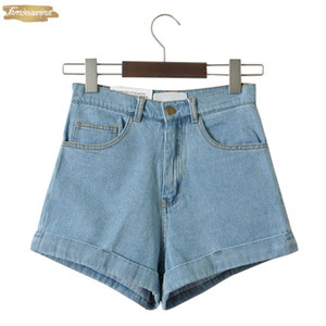 Porter Shorts Jeans femmes taille haute finition ourlet roulé Shorts Twill Sexy Girls Cuff Shorts Plus Size Filles Denim Rue C3627