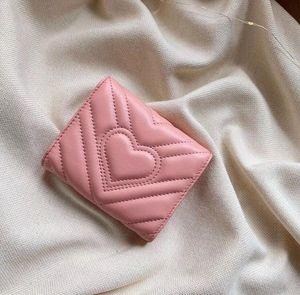 Patrón vendedor caliente de la onda de amor cortas Monedero italiana Marca señoras del diseñador carpeta de múltiples tarjetas de Monederos mujeres bolsos de embrague monederos Bolsas Marmont
