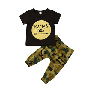 Newborn Infant Baby Boys Clothes Sets Letter Short Sleeve T Shirts Tops Camouflage Pants 0-24M