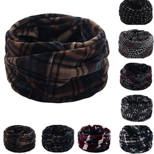 Écharpe d'hiver Châle Retro Head Neck élégant unisexe Plaid QualIté double couche cou chaud en polaire tricoté Echarpe Châle Cowl