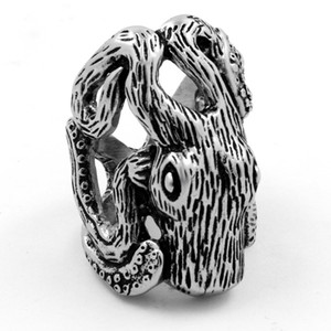 2020 New European and American Hot Casting Couple Titanium Stainless Steel Octopus Animal Male and Female Ring with First Hand Jewelry US Si