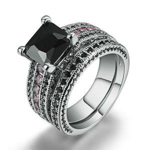 Anillo de diamantes de zafiro negro 925 plateado plata magnífica joyería de las mujeres de color turquesa del partido de coctel anillos tamaño 5-12