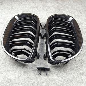 Grilles de rein noir brillant pour 5 séries E60 E61 2-lames grill grille de capot avant regard carbone Mesh 2004-2009 Grillages