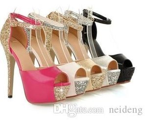 Glitter ankle strap high platform peep toe pumps party prom gown wedding shoes women high heels size 34 to 39