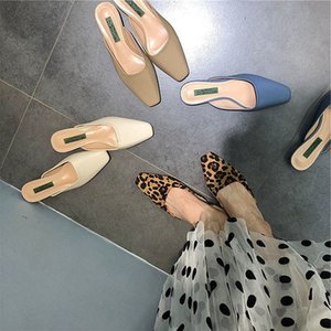 Fairy2019 Ağız Sığ Leopar Baskı Olacak Doğu Kapısı Kare Rahat Dış Giyim Yarım Terlik bayan Ayakkabıları