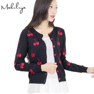 Makuluya Осень Весна Женщина свитер вишневых вышивки Pattern пальто куртка с длинным рукавом Vintage allmatch Вязание Кардиган L6