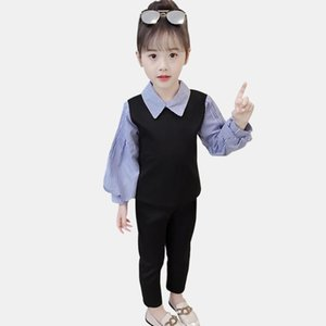 Kids Clothes Girls Striped Clothing For Girls Lantern Sleeve Sweatshirt + Pants Girl Clothes Patchwork Tracksuits For Children