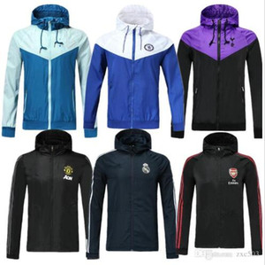 Top Veste longue Rome capuche Vêtements de sport survetement survêtements de football de Madrid Football Survêtement 2019 2020 Windbreaker formation à capuchon