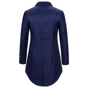 Vintage Men Suit Tailcoat Jacket Gothic Frock Coat Uniform Tuxed Costume Praty Outwear cosplay d91120