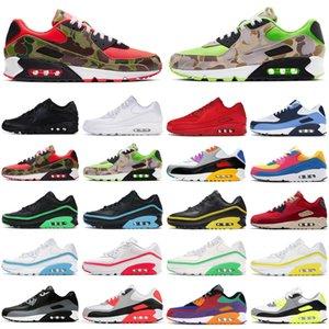 Nike hava max airmax 90 ördek camo 90 s erkekler kadınlar koşu ayakkabı üçlü siyah beyaz kırmızı premium açık erkek bayan eğitmenler spor sneakers koşucular