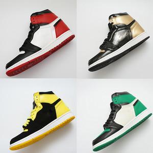 Negro del dedo del pie zapatos Bred 1 OG baloncesto de los hombres zapatos del diseñador de Chicago 1S 6 anillos de lujo zapatillas de deporte los zapatos de mujeres de mediana UNC deporte nuevo amor 36-47