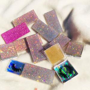 3D Mink Wimpern Leere Spezialverpackungen Glitter Strass Lashes Fall handgemachte natürliche lange volle Streifen-Augen-Peitsche