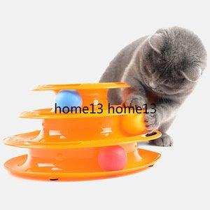 Three Levels pet cat toy Tower Tracks Disc cat Intelligence Amusement triple disc cat toys ball Training Amusement plate Kitten