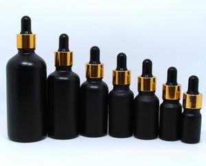 5ml 10ml 15ml 20ml 서리 낀 검은 유리 dropper 병 에센셜 오일 향수 eliquid 광택이없는 검은 색 병과 골드 캡 맞춤형 로고