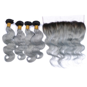 Ombre Silver Grey Indian Human Hair Wefts with Frontal #1B Grey Ombre Body Wave 4Bundles with Frontal Grey Ombre Lace Frontal Closure 13x4