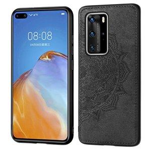 Per Huawei P40 Pro Mandala Embossed Phone Case panno + PC + TPU mobile con funzione magnetica