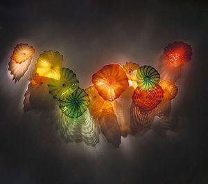 Fancy LED luces decorativas 10 unids de lámparas de color naranja verde placas de vidrio soplado a mano Turquía Diseño coloreado Murano Wall Sconence