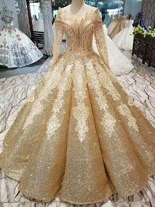 Sequins dell'oro abito di sfera Wedding Dress Luxyry Dubai Afraic Appliques nappe formale Abito da sposa Plus Size Vestido De Noiva su ordine
