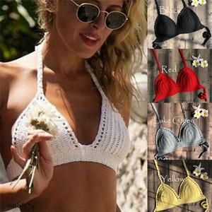 Modische Frauen kleidet Baumwolle feste beiläufige reizvolle Backless Crochet Halter Knit-Strand-Bikini-BH Swimwear Crop Top Hot