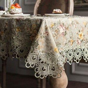 Designer stickten Spitze Crochet Tischwäsche elegant Europäische Rustic Blumentischdekoration Stuhl-Abdeckung Tischläufer Tuch