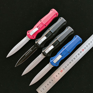infiel Benchmade cuchillo de doble acción automática Cuchillo 6061-T6 mango de aluminio BM 3300 D2 punta de lanza de acero liso Cuchillos tácticos herramienta EDC