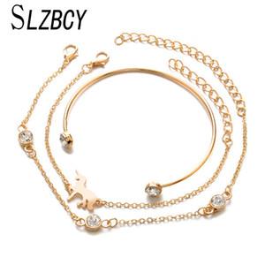 SLZBCY Unicorn Animal Charms BraccialiBangles For Women regolabile Oro Argento Colore Bridal Wedding Jewelry 3pcs / set