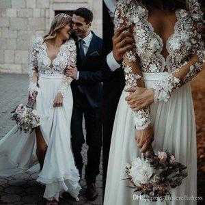 2020 vendita calda Lace abiti da sposa di stile di paese di Applique Scollo a V maniche lunghe Abiti da sposa Corte dei treni Boho Bohemain abito da sposa BC3657