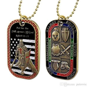 Put on The Whole Armor of God Dog Tag Pendant Necklace Badge Challenge Coin