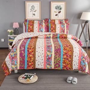 Bloom Floral Patchwork vertical Juego de colcha de algodón 100%, Home Antique Chic Reversible 3Pcs Queen size Juego de colchas Colcha de cama