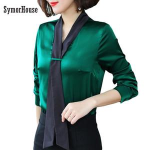 2019 nuevas mujeres blusa de satén de seda con cuello en v corbata camisas de manga larga damas trabajo de oficina elegante mujer top blusas de alta calidad 3XL