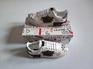 Sapatas do desenhador de moda homem mulheres de couro sapatilhas portofino ponto de veludo remendo Sola de borracha itália casual vestido sapatos tamanho com caixa 35-46